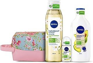 NIVEA Naturally Good Combo, Natural Avocado Body Lotion 200 ml, Orange Blossom & Oil Shower Gel 300 ml, Bio Aloe Vera Roll...