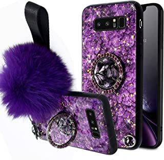 Aulzaju Samsung S8 Plus Fur Ball Case with Bling Ring Stand, Galaxy S8 Plus Luxury Shiny Marble Style Shockproof Hybrid Hard Fashion Case for Samsung S8 Plus for Girls Women-Purple