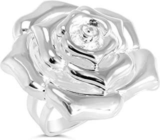 """Floral Collection"" Women's Sterling Silver Rose Ring, Includes Product Care Bundle"