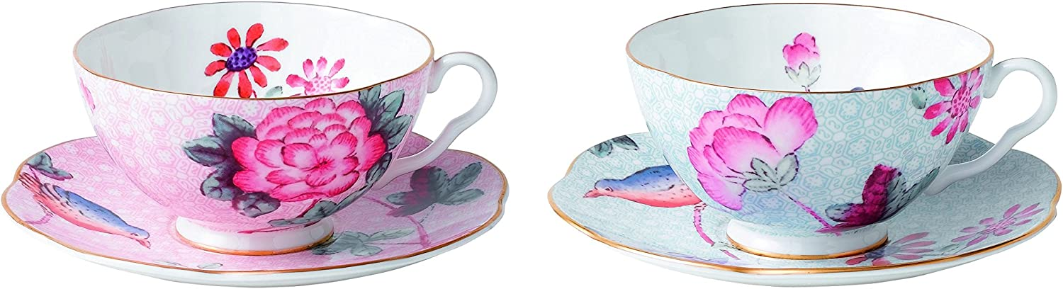 Wedgwood Cuckoo Tea Story Teacup Sacramento Mall and of Saucer Blue 2 Manufacturer regenerated product Pink Set