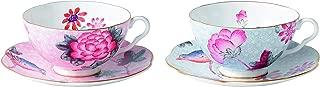 Wedgwood Cuckoo Tea Story Teacup and Saucer, Pink/Blue, Set of 2