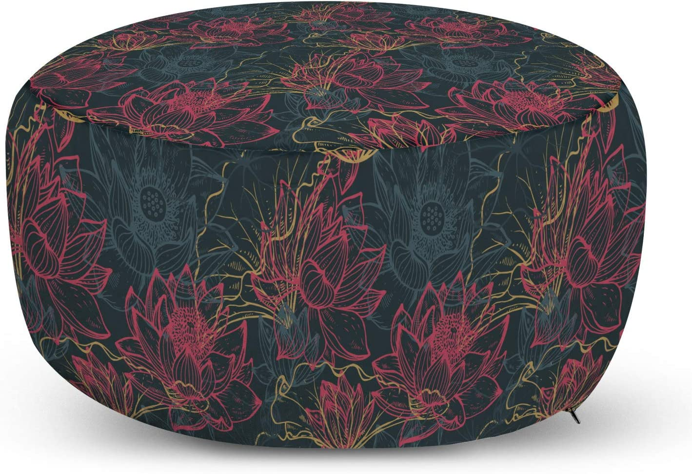 Ambesonne Lotus Pouf Cover with Quantity limited Zipper Drawn Max 60% OFF Hand Flower Mystic