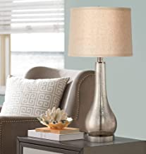 Janna Coastal Table Lamp Mercury Glass Gourd Silver Taupe Linen Drum Shade for Living Room Family Bedroom Bedside - 360 Lighting