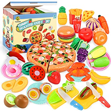 70PCS Pretend Play Food Sets for Kids Kitchen Toys Accessories Set BPA Free Plastic Pizza Toy Food Fruits and Vegetables Dishes Playset Christmas Birthday Gift Toys for Toddlers Boys Girls Storage Box