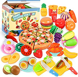 70PCS Pretend Play Food Sets for Kids Kitchen Toys Accessories Set BPA Free Plastic Pizza Toy Food Fruits and Vegetables D...