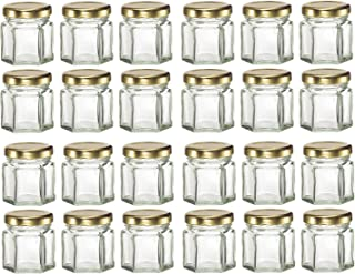 GYBest 24-Pack Mini 1.5 Oz Hexagon Glass Jars with Gold Plastisol Lined Lids, Great for Jam, Honey, Wedding Favors, Shower Favors, Baby Foods, DIY Magnetic Spice Jars