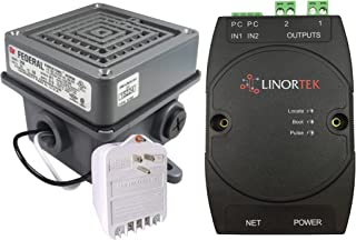 Linortek Netbell-2-1Buz Network Extra Loud Automatic Buzzer System TCP/IP Web-Based Bell Timer Scheduling Software for Industrial Factory Warehouse Lunch Break Time Alarm 500 Event Schedules POE