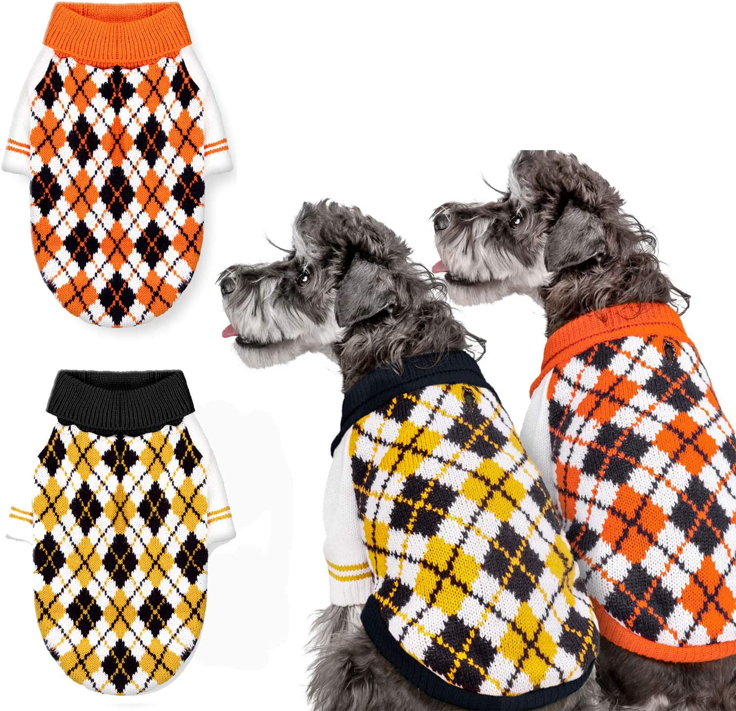 Whaline Some reservation 2pcs Dog Pet Sweater Spring new work one after another Turtleneck Clothes P Knitted Winter
