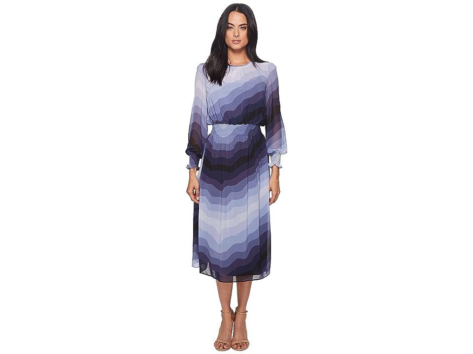 CATHERINE Catherine Malandrino Trudy Long Sleeve High Neck Sheer Slip Layer Midi Dress (Heron Wave) Women