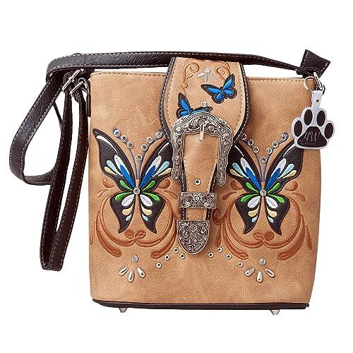 ac9b247af1 HW Collection Western Butterfly Buckle Concealed Carry Crossbody Handbag  Messenger Bag