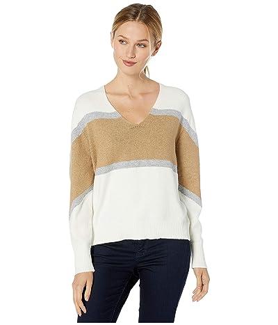 Vince Camuto Bubble Sleeve Color Block V-Neck Sweater (Antique White) Women