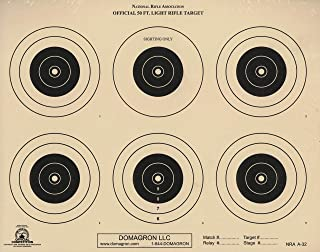 DOMAGRON 50 Foot Light Rifle Six Bullseye Official NRA Target A-32 (Package of 100)