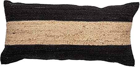 Bloomingville Natural and Black Woven Cotton and Jute Blend Lumbar Stripe Pillow