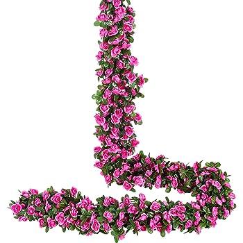 YQing 4 Piezas Artificiales Rosas Flores Guirnalda, 250cm Rosas Falsas Artificial Flor Rosa Vid Planta con Hojas de Hiedra Verde para la decoración del jardín del Banquete de Boda (Rojo): Amazon.es: Hogar