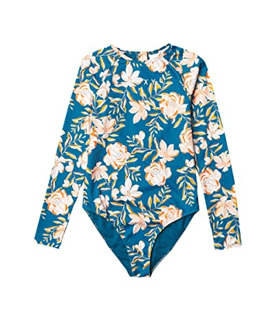 Roxy Kids Summer of Surf Long Sleeve One-Piece (Big Kids) (Ink Blue Happy Day) Girl