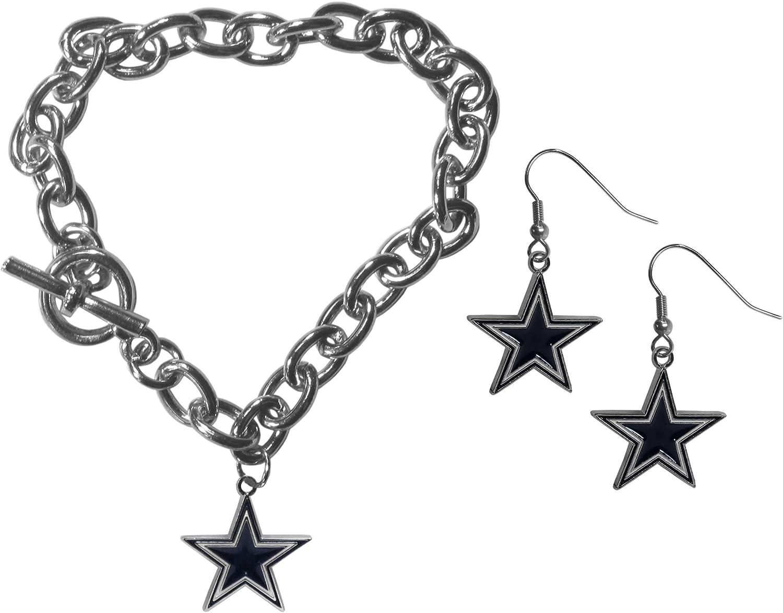 NFL Womens Chain Bracelet Dangle Earring Set