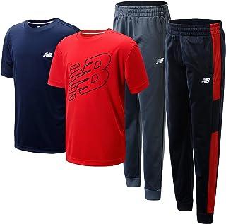 New Balance Boys' Active Jogger Set - 4 Piece Short Sleeve Performance T-Shirt and Tricot Sweatpants Set (Little Kid/Big Kid)