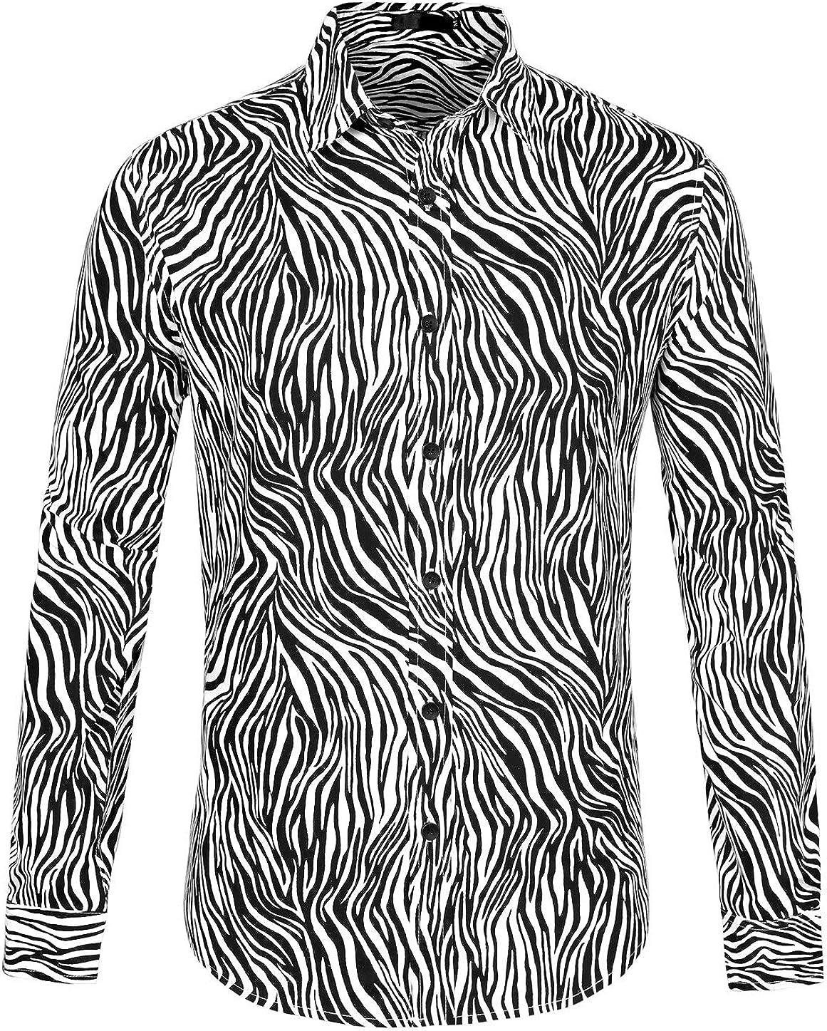 Lars Amadeus Men Vintage Leopard Print Button Down Long Sleeve Cotton Casual Shirt