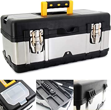 Anyyion 16.5-Inch Tool Box - Portable Lockable Storage, Stainless Steel & Plastic Construction - Removable Tray, Toolbox Organizer Truly Strong and Durable: image