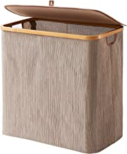YOUDENOVA Waterproof Bamboo Laundry Hamper Basket with Lid for Bathroom and Bedroom, Waterproof Storage Basket for Moist T...