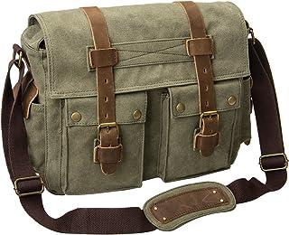 Peacechaos Men's Canvas Camera Bag Leather DSLR SLR Camera Case Vintage Camera Messenger Bag Shoulder Bag Sling Bag (Army ...