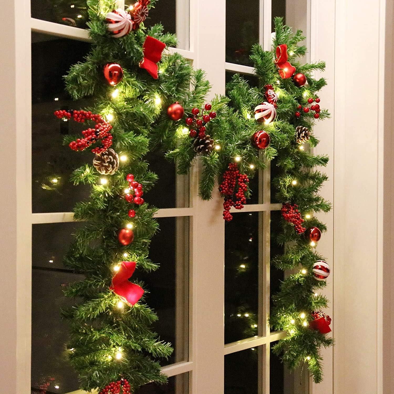 MorTime 9 FT LED Christmas In stock Garland Bo Red Regular dealer with Berries Pinecones