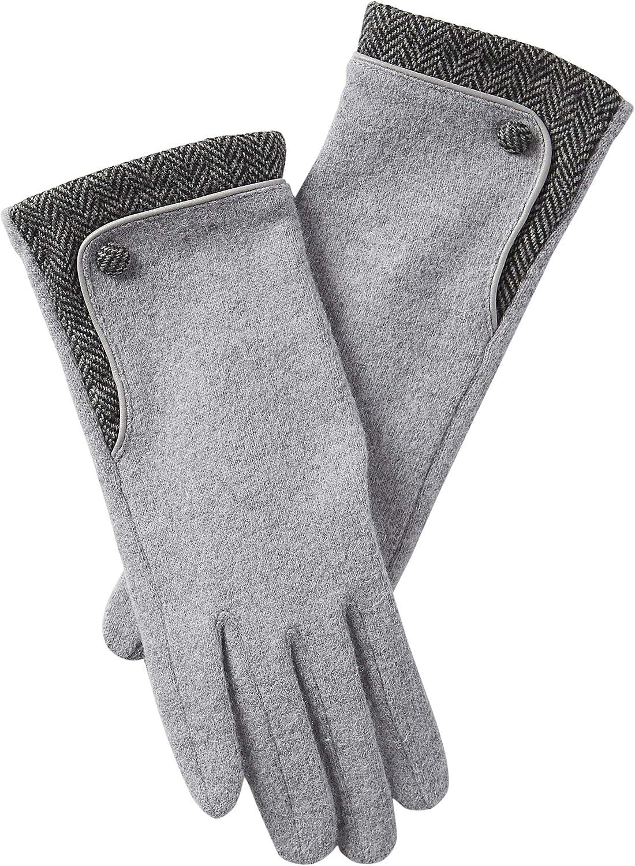 Tickled Pink womens Herringbone Wool Button Gloves