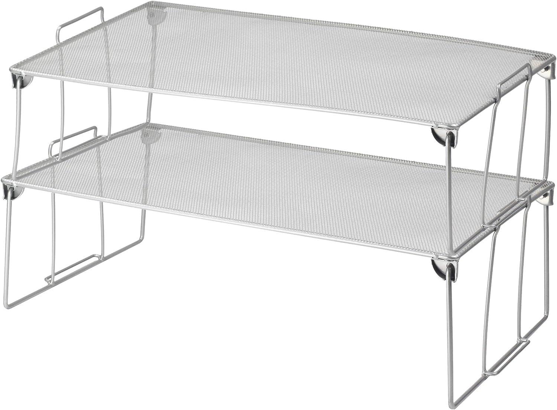 YBM HOME Sttackable Mesh Shelf (Silver) - Multipurpose Storage Rack for Kitchen Bathroom Garage Office – Durable, Wire Pantry Organizer – Foldable Space Saving Design 2257-2 (2, Large)