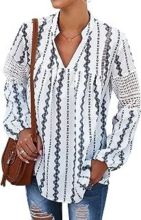 Ezcosplay Women V Neck Long Sleeve Boho Peasant Blouse Chiffon Floral Tunic Top