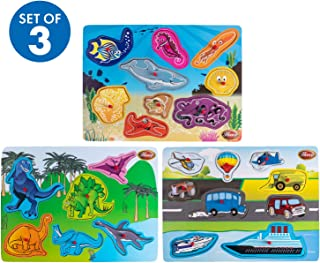 Premium Baby Peg Puzzle 3-in-1 Set by Hoovy - 3 Different Themed Educational Knob Puzzles for Boy & Girl Toddlers Bonus: Storage Rack (Sea Creatures, Vehicles, Dinosaur's)