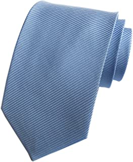 Elfeves Men's Solid Color Ties Fine Stripe Smooth Graduation Formal Suit Necktie