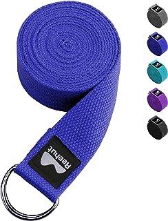 REEHUT Correa para Yoga (1.8m, 2.4m, 3m) - Cinturón con Hebilla Metal D-Anillos de Poliéster Algodón Resistente para Ejercicios de Estiramiento, Fitness, Pilates y Flexibilidad