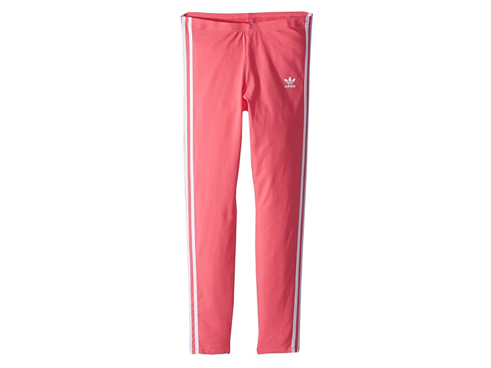 Image of adidas Originals Kids 3-Stripes Leggings (Little Kids/Big Kids) (Real Pink/White) Girl's Casual Pants