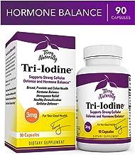 Terry Naturally Tri-Iodine 3 mg - 3000 mcg Iodine, 90 Vegan Capsules - Supports Hormone Balance, Promotes Breast & Prostate Health - Non-GMO, Gluten-Free, Kosher - 90 Servings