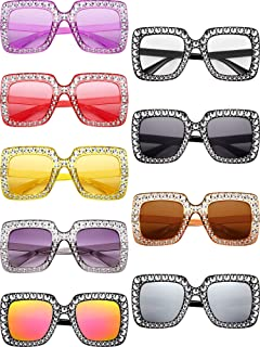 9 Pairs Oversize Square Sparkling Sunglasses Crystal Rhinestone Frame Glasses for Women