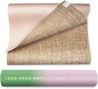 Ajna Eco Organic Yoga Mat - Natural Jute Yoga Mats - Large Non Slip - Reversible Jute PER - Carrying Strap - Extra Long Yo...
