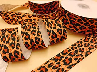 "5 Or 25 yard Animal Wild Leopard Print Grosgrain 1.5/"" Ribbon//Brown//Black R130-15"