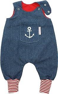 Kleine Könige Baby Strampler Jungen Baby Body  Modell Jeansoptik Jeansjersey Anker Timmy blau, rot-weiß  Ökotex 100 zertifiziert  Größen 50-92