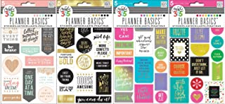 Create 365 The Happy Planner Stickers Bundle with Bright, Gold, Neon, Rose (Set of 4 Items)