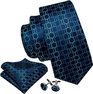 Mens Ties Novelty Silk Tie Pocket Square Cufflinks Set Woven Designer