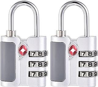 uxcell TSA Approved Luggage Lock 3 Digit Combination Travel Padlock Zinc Alloy Silver Tone 57x30x13.5mm 2Pcs