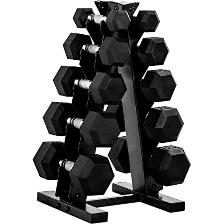 CAP Barbell Rubber Hex 300 lb Dumbbell Weight Set with Rack Available in Horizontal or Vertical Racks