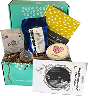 First Trimester Pregnancy Gift Box with Non-Toxic, Organic, Natural & Unique Products - Tummy Drops, Sonogram Frame, Dream Salve, Bath Soak, Pregnancy Journal