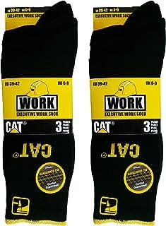 Caterpillar, 6 Pares de calcetines de trabajo CAT, puntera y talón reforzados, remallado a mano, hilos de algodón peinado de alta calidad