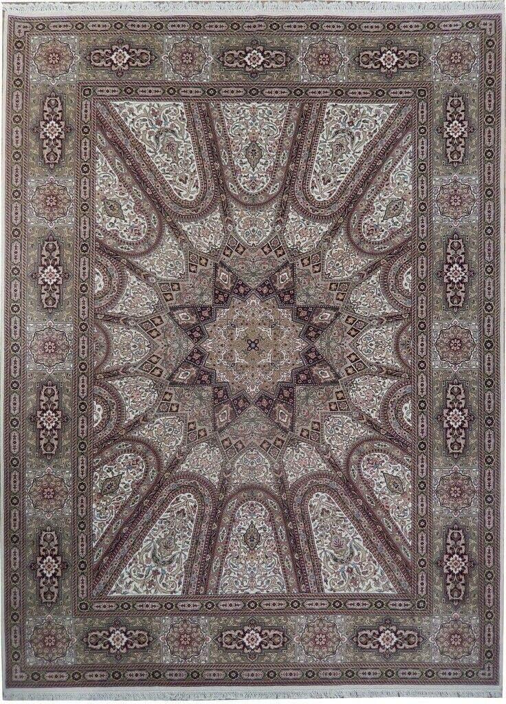 Wool Silk Oriental Handmade Rug 9' Ivory free shipping x 12' Fin Gonbad Dome Max 84% OFF