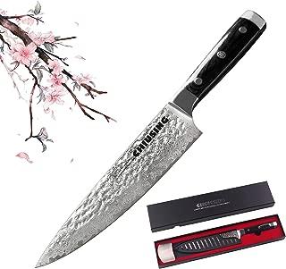 Damascus Chefs Knife, CHIUSING 67-layer Handmade 8 inch Damascus Chef Knife, AUS10 Damascus Super Steel Ultra Sharp pakka wood handle (1, black)
