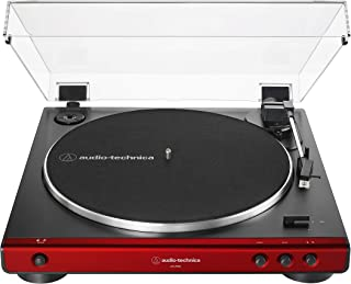 Audio-Technica AT-LP60X-RD Fully Automatic Belt-Drive Stereo Turntable, Red