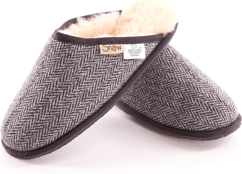 The kilt store Mens Harris Tweed Black and White Herringbone Slippers