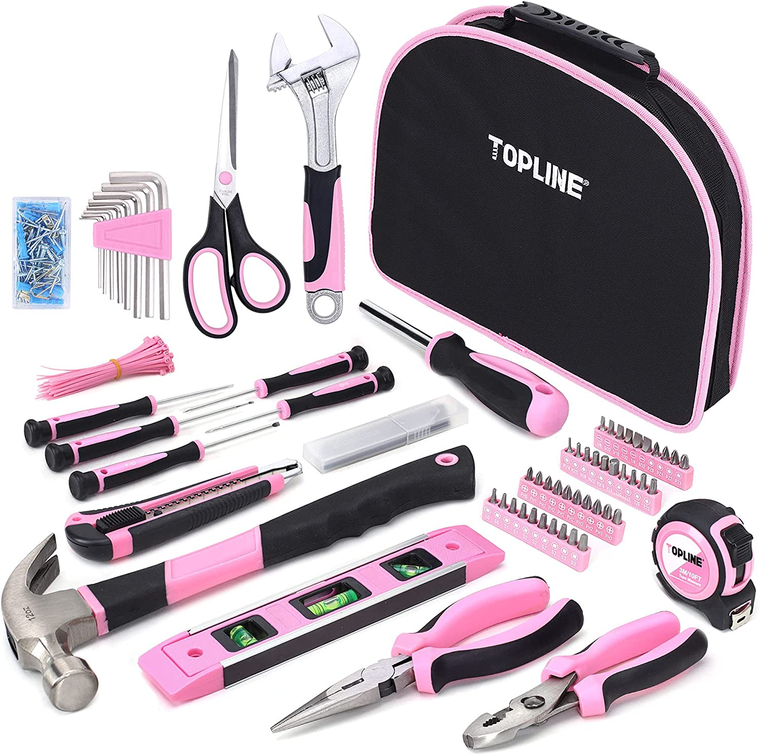 TOPLINE 208-Piece Pink Tool Set with Easy Carrying Round Pouch for Women