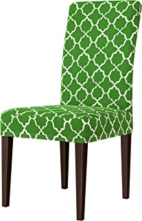 Subrtex Stretch Dining Chair Slipcovers Printed Dining Chair Protector, Removable Washable Short Dining Elastic Parsons Chair Seat Covers for Dining Room Kitchen (Grass Green, 2PC)